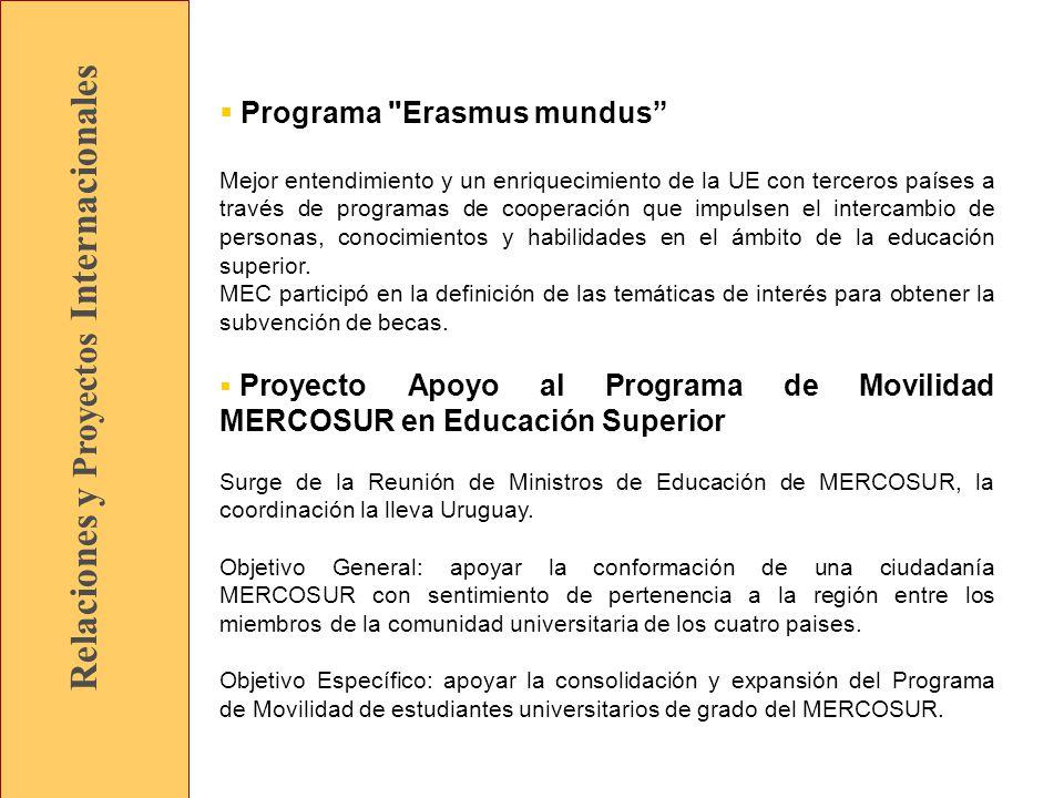 Relaciones y Proyectos Internacionales Programa Erasmus mundus Mejor entendimiento y un enriquecimiento de la UE con terceros países a través de programas de cooperación que impulsen el intercambio de personas, conocimientos y habilidades en el ámbito de la educación superior.