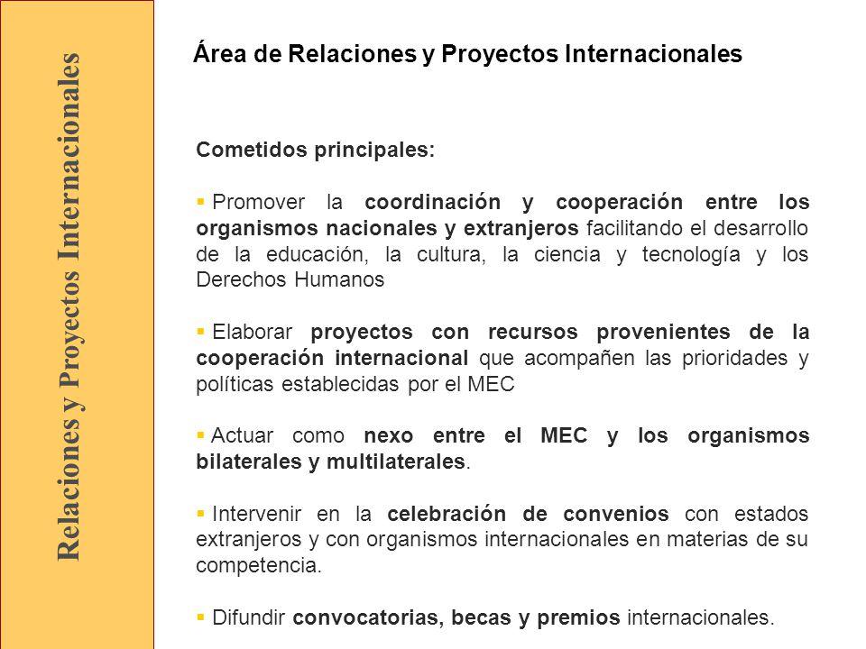 Relaciones y Proyectos Internacionales Cometidos principales: Promover la coordinación y cooperación entre los organismos nacionales y extranjeros facilitando el desarrollo de la educación, la cultura, la ciencia y tecnología y los Derechos Humanos Elaborar proyectos con recursos provenientes de la cooperación internacional que acompañen las prioridades y políticas establecidas por el MEC Actuar como nexo entre el MEC y los organismos bilaterales y multilaterales.