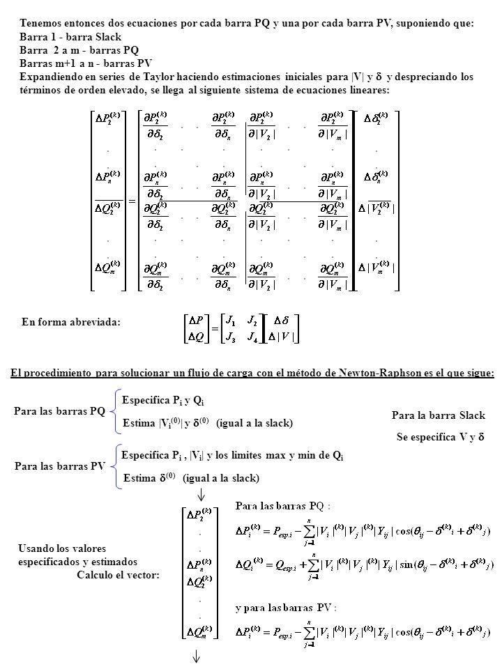 Tenemos entonces dos ecuaciones por cada barra PQ y una por cada barra PV, suponiendo que: Barra 1 - barra Slack Barra 2 a m - barras PQ Barras m+1 a