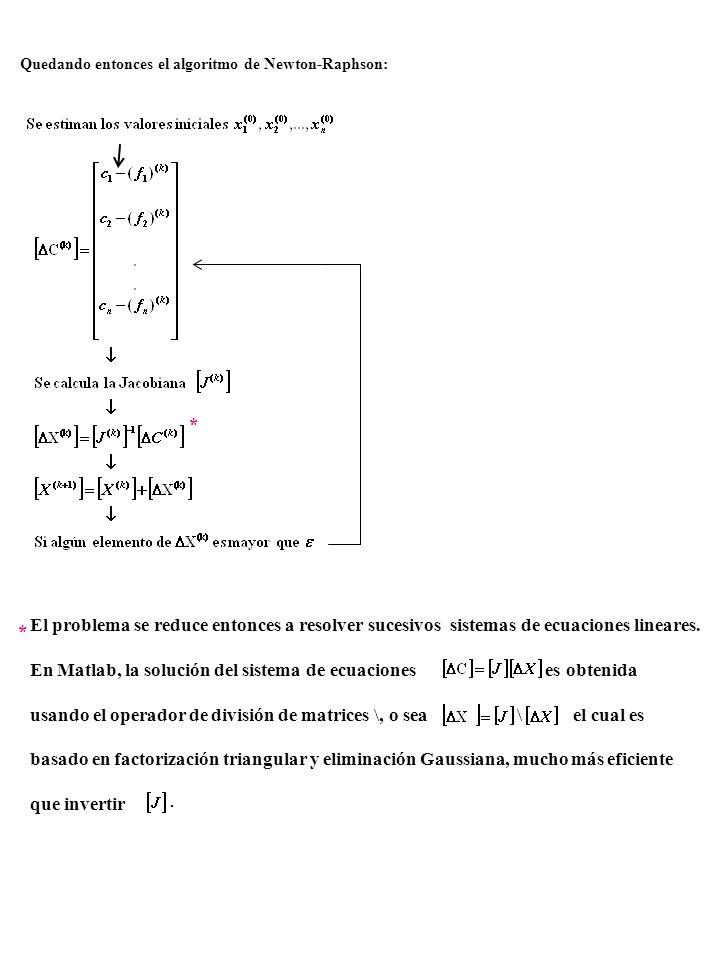 Quedando entonces el algoritmo de Newton-Raphson: * * El problema se reduce entonces a resolver sucesivos sistemas de ecuaciones lineares. En Matlab,