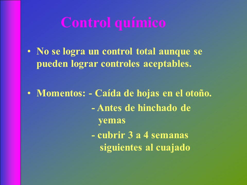 Control químico No se logra un control total aunque se pueden lograr controles aceptables. Momentos: - Caída de hojas en el otoño. - Antes de hinchado