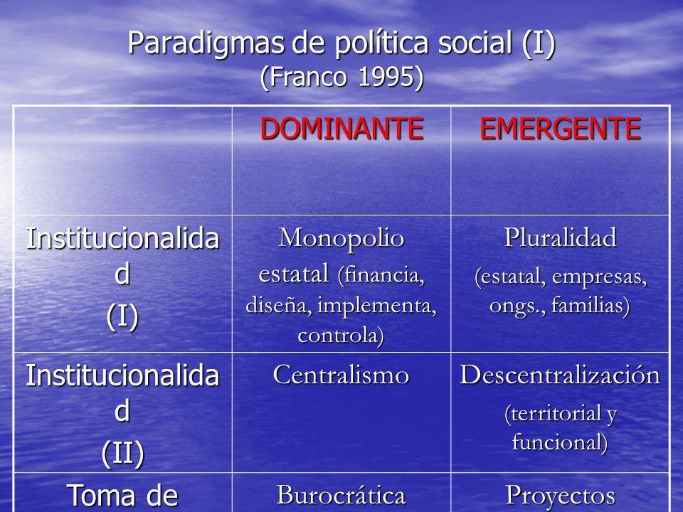 Paradigmas de política social (I) (Franco 1995) DOMINANTEEMERGENTE Institucionalida d (I) Monopolio estatal (financia, diseña, implementa, controla) Pluralidad (estatal, empresas, ongs., familias) Institucionalida d (II)CentralismoDescentralización (territorial y funcional) Toma de decisiones Burocrática (Estado sabe, usuario sin elección) Proyectos (asignación competitiva, propuesta de usuarios)