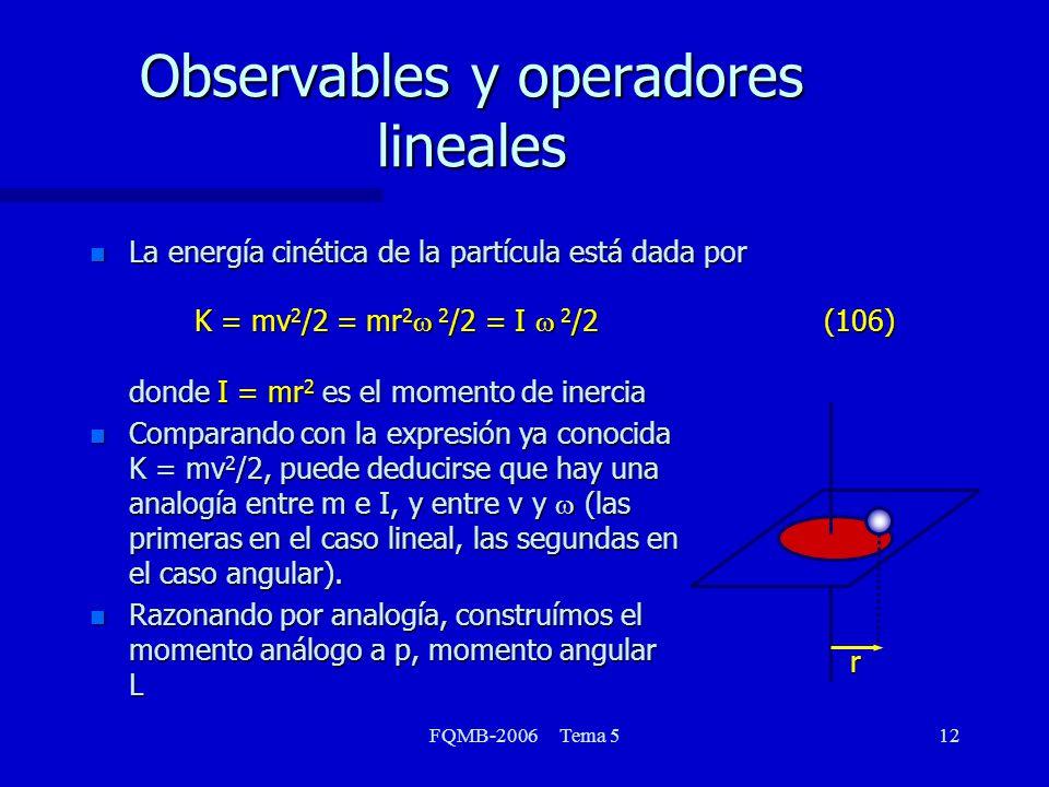 FQMB-2006 Tema 512 Observables y operadores lineales La energía cinética de la partícula está dada por K = mv 2 /2 = mr 2 2 /2 = I 2 /2 (106) donde I