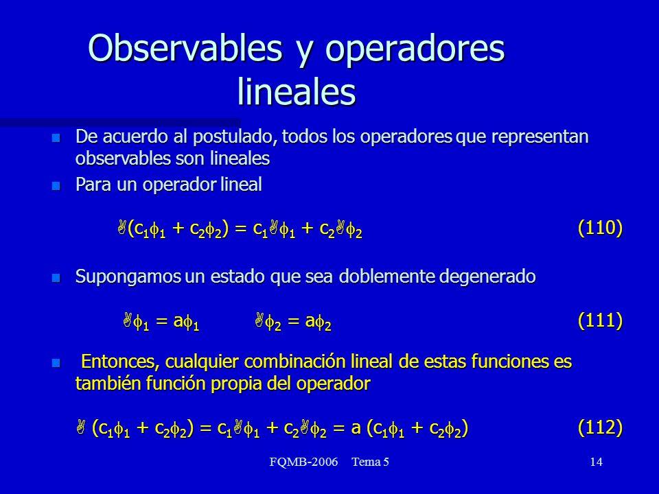 FQMB-2006 Tema 514 Observables y operadores lineales n De acuerdo al postulado, todos los operadores que representan observables son lineales Para un