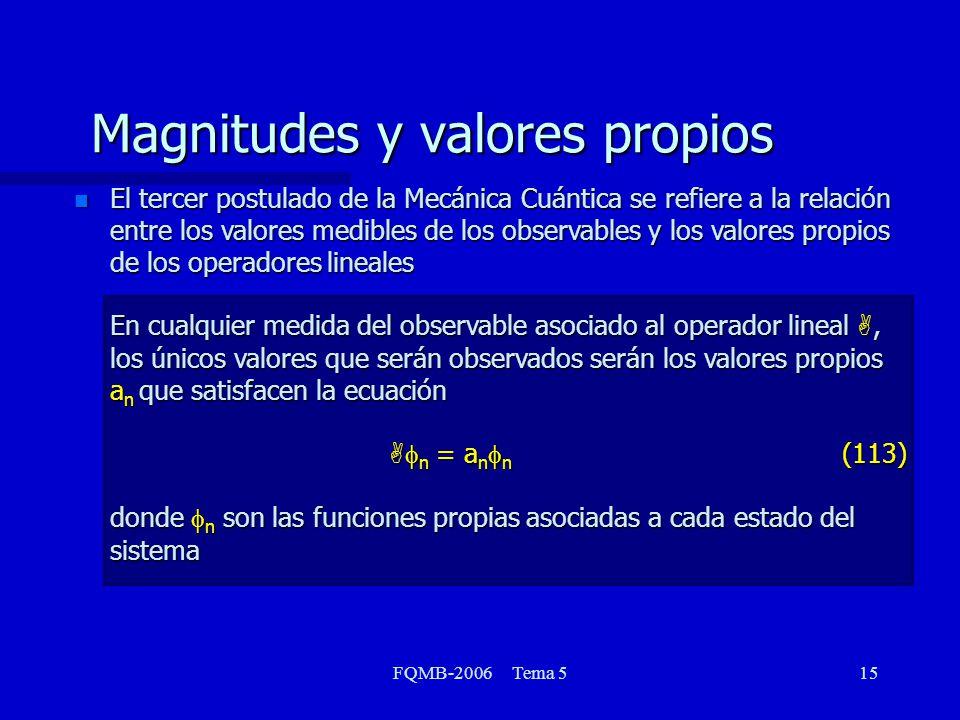 FQMB-2006 Tema 515 Magnitudes y valores propios El tercer postulado de la Mecánica Cuántica se refiere a la relación entre los valores medibles de los