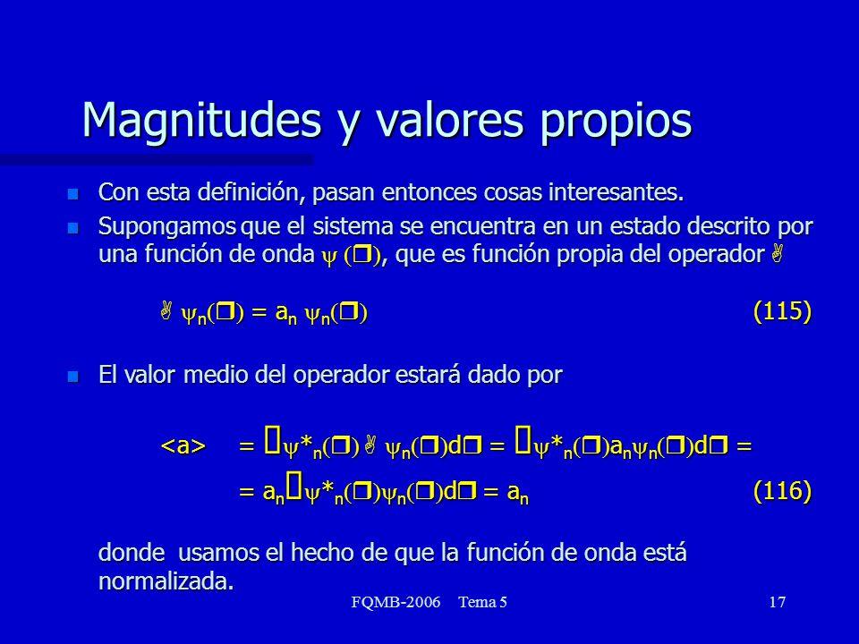 FQMB-2006 Tema 517 Magnitudes y valores propios n Con esta definición, pasan entonces cosas interesantes. Supongamos que el sistema se encuentra en un