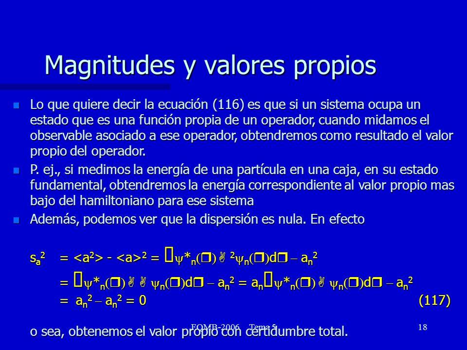FQMB-2006 Tema 518 Magnitudes y valores propios n Lo que quiere decir la ecuación (116) es que si un sistema ocupa un estado que es una función propia