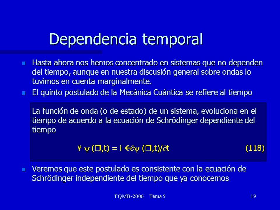 FQMB-2006 Tema 519 n Hasta ahora nos hemos concentrado en sistemas que no dependen del tiempo, aunque en nuestra discusión general sobre ondas lo tuvi