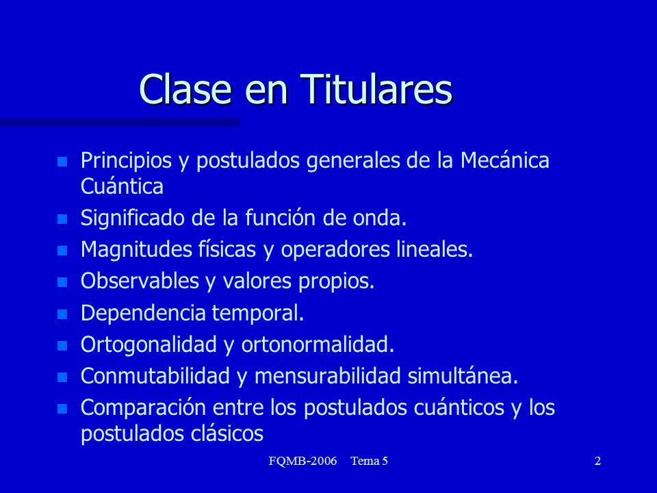 FQMB-2006 Tema 52 Clase en Titulares n n Principios y postulados generales de la Mecánica Cuántica n n Significado de la función de onda. n n Magnitud