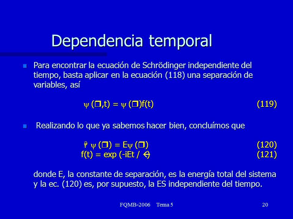 FQMB-2006 Tema 520 Para encontrar la ecuación de Schrödinger independiente del tiempo, basta aplicar en la ecuación (118) una separación de variables,