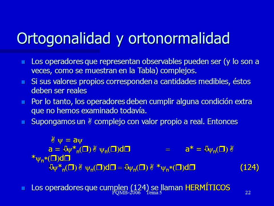 FQMB-2006 Tema 522 n Los operadores que representan observables pueden ser (y lo son a veces, como se muestran en la Tabla) complejos. n Si sus valore