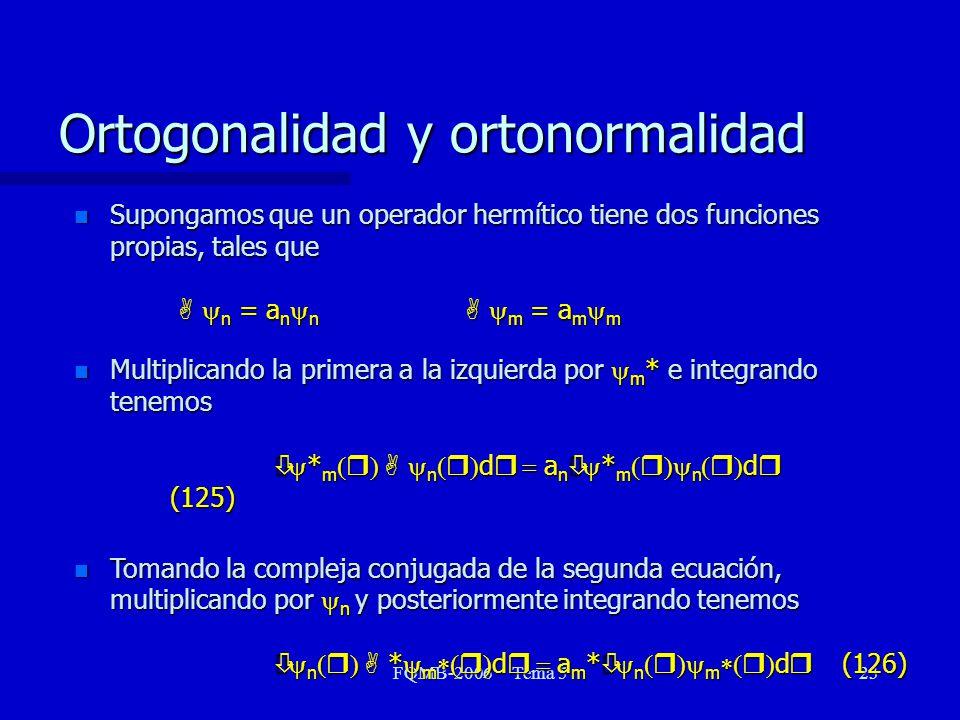 FQMB-2006 Tema 523 Supongamos que un operador hermítico tiene dos funciones propias, tales que A n = a n n A m = a m m Supongamos que un operador herm
