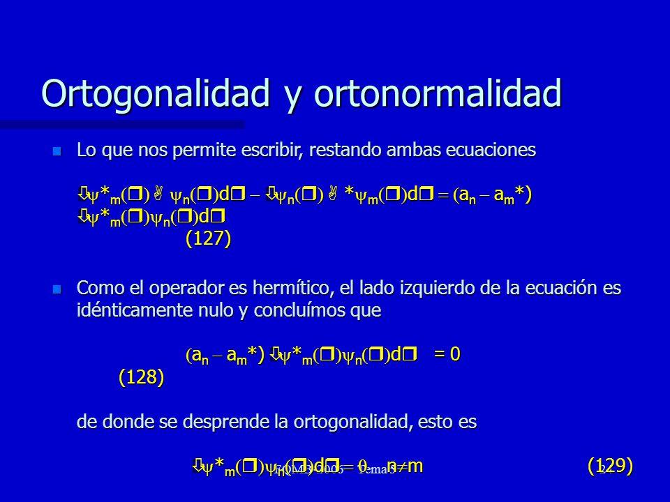FQMB-2006 Tema 524 Lo que nos permite escribir, restando ambas ecuaciones ò * m r A n r d r ò n r A * m r d r a n a m *) ò * m r n r d r (127) Lo que