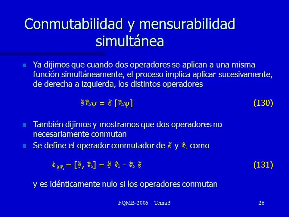 FQMB-2006 Tema 526 Ya dijimos que cuando dos operadores se aplican a una misma función simultáneamente, el proceso implica aplicar sucesivamente, de d