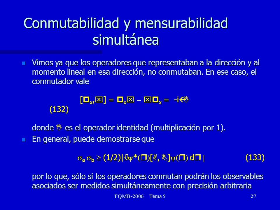FQMB-2006 Tema 527 Vimos ya que los operadores que representaban a la dirección y al momento lineal en esa dirección, no conmutaban. En ese caso, el c