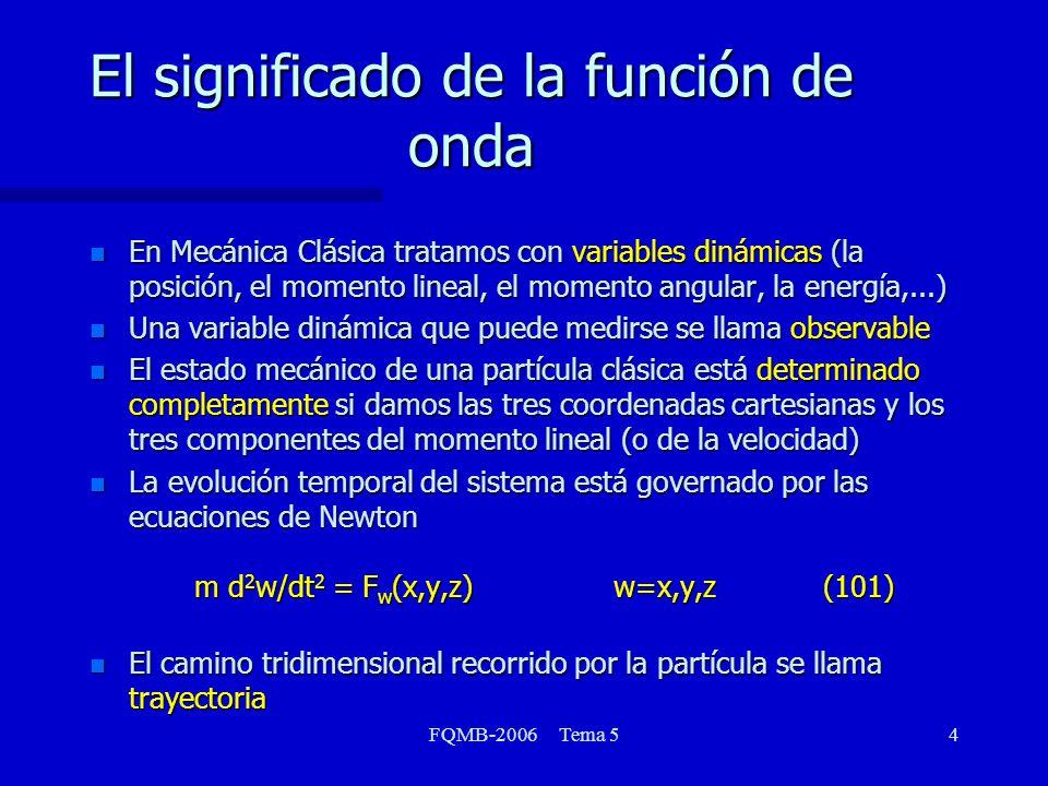 FQMB-2006 Tema 515 Magnitudes y valores propios El tercer postulado de la Mecánica Cuántica se refiere a la relación entre los valores medibles de los observables y los valores propios de los operadores lineales En cualquier medida del observable asociado al operador lineal A, los únicos valores que serán observados serán los valores propios a n que satisfacen la ecuación A n = a n n (113) donde n son las funciones propias asociadas a cada estado del sistema El tercer postulado de la Mecánica Cuántica se refiere a la relación entre los valores medibles de los observables y los valores propios de los operadores lineales En cualquier medida del observable asociado al operador lineal A, los únicos valores que serán observados serán los valores propios a n que satisfacen la ecuación A n = a n n (113) donde n son las funciones propias asociadas a cada estado del sistema