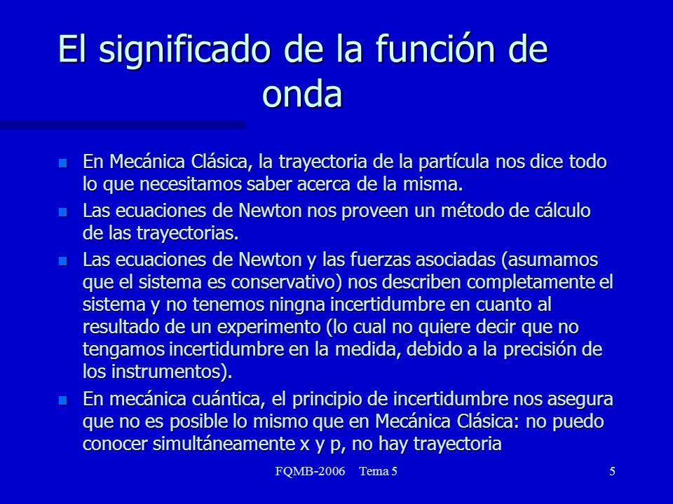 FQMB-2006 Tema 56 El significado de la función de onda El primer postulado de la Mecánica Cuántica dice: El estado de un sistema cuántico está completamente especificado por una función (x,y,z) que depende de las coordenadas de la partícula.