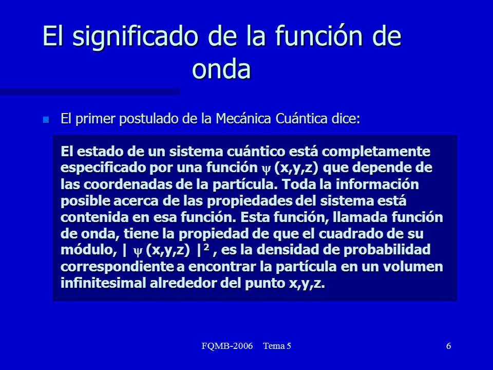 FQMB-2006 Tema 57 El significado de la función de onda En caso que en lugar de tener una única partícula, tengamos dos o más, la función de onda se generalizará en la forma (r) = (x1,x2,x3,...,y1,y2,y3,...,z1,z2,z3,...)(102) donde usamos r como variable colectiva para describir todas las coordenadas cartesianas de todas las partículas involucradas.