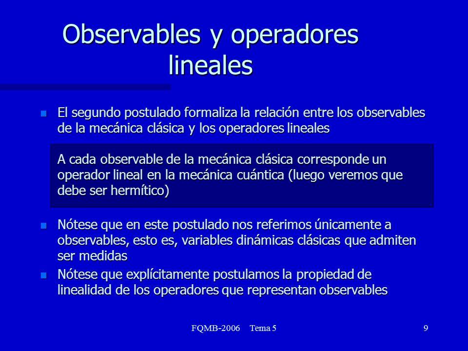 FQMB-2006 Tema 510 Observables y operadores lineales NombreObservableOperadorOperación Posiciónx x Multiplicar por x rr Multiplicar por r Momentop x p x i d/dx lineal pp i EnergíaK x K x 2 /2m) 2 / x 2 cinéticaK K 2 /2m)( 2 / x 2 + 2 / y 2 + 2 / z 2 ) = 2 /2m) 2 EnergíaV(x) V x Multiplicar por V(x) PotencialV(x,y,z) V Multiplicar por V(x,y,z) Energía TotalE E 2 /2m) 2 + V(x,y,z) MomentoL x =yp z zp y L x i(y AngularL y =zp x xp z L y i(z L z =xp y yp x L z i(x Posiciónx x Multiplicar por x rr Multiplicar por r Momentop x p x i ß d/dx lineal pp i ß ( i / x + j / y + k / z) EnergíaK x K x ß 2 /2m) 2 / x 2 cinéticaK K ß 2 /2m)( 2 / x 2 + 2 / y 2 + 2 / z 2 ) = ß 2 /2m) 2 EnergíaV(x) V x Multiplicar por V(x) PotencialV(x,y,z) V Multiplicar por V(x,y,z) Energía TotalE E ß 2 /2m) 2 + V(x,y,z) MomentoL x =yp z zp y L x i ß (y / z z / y) AngularL y =zp x xp z L y i ß (z / x x / z) L z =xp y yp x L z i ß (x / y y / x)
