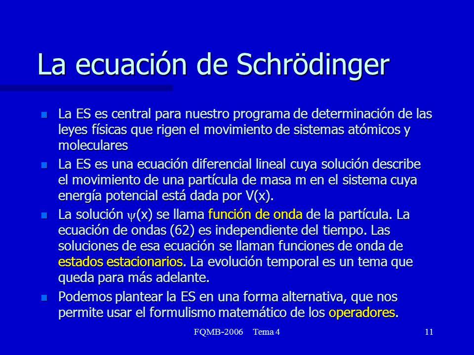 FQMB-2006 Tema 411 La ecuación de Schrödinger n La ES es central para nuestro programa de determinación de las leyes físicas que rigen el movimiento de sistemas atómicos y moleculares n La ES es una ecuación diferencial lineal cuya solución describe el movimiento de una partícula de masa m en el sistema cuya energía potencial está dada por V(x).