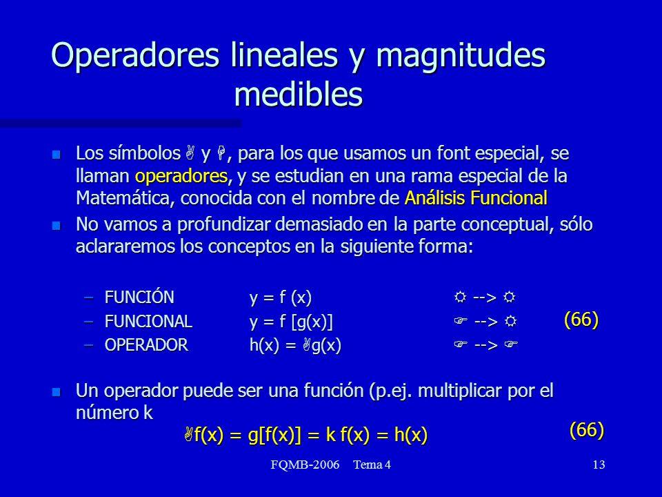 FQMB-2006 Tema 413 Operadores lineales y magnitudes medibles Los símbolos A y H, para los que usamos un font especial, se llaman operadores, y se estudian en una rama especial de la Matemática, conocida con el nombre de Análisis Funcional Los símbolos A y H, para los que usamos un font especial, se llaman operadores, y se estudian en una rama especial de la Matemática, conocida con el nombre de Análisis Funcional n No vamos a profundizar demasiado en la parte conceptual, sólo aclararemos los conceptos en la siguiente forma: –FUNCIÓNy = f (x) R --> R –FUNCIONALy = f [g(x)] F --> R –OPERADORh(x) = A g(x) F --> F Un operador puede ser una función (p.ej.