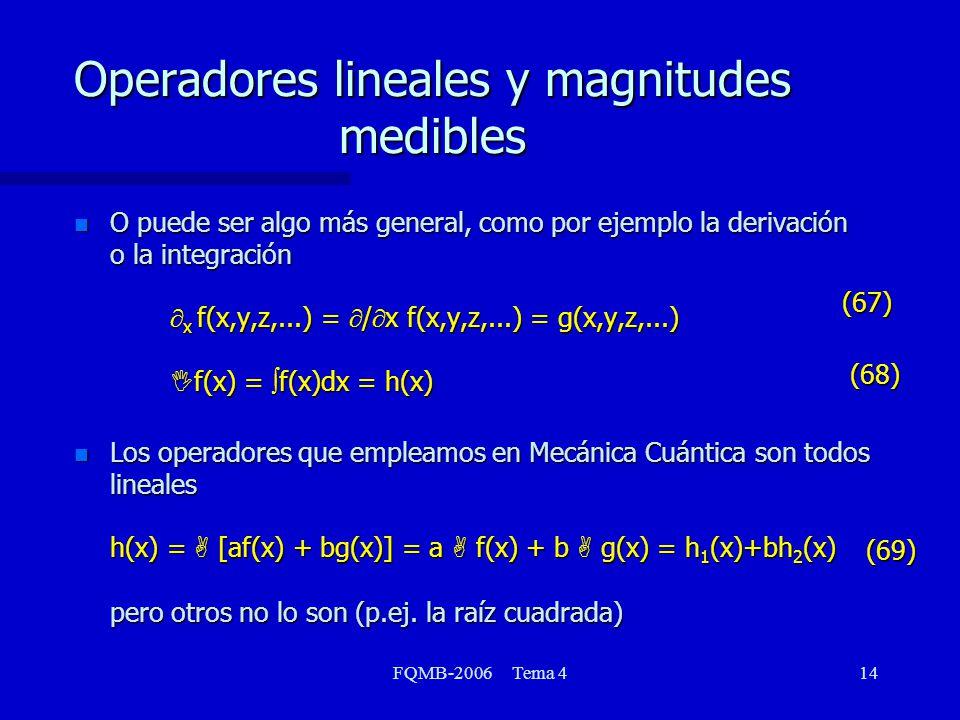 FQMB-2006 Tema 414 Operadores lineales y magnitudes medibles O puede ser algo más general, como por ejemplo la derivación o la integración x f(x,y,z,...) = / x f(x,y,z,...) = g(x,y,z,...) I f(x) = f(x)dx = h(x) O puede ser algo más general, como por ejemplo la derivación o la integración x f(x,y,z,...) = / x f(x,y,z,...) = g(x,y,z,...) I f(x) = f(x)dx = h(x) Los operadores que empleamos en Mecánica Cuántica son todos lineales h(x) = A [af(x) + bg(x)] = a A f(x) + b A g(x) = h 1 (x)+bh 2 (x) pero otros no lo son (p.ej.