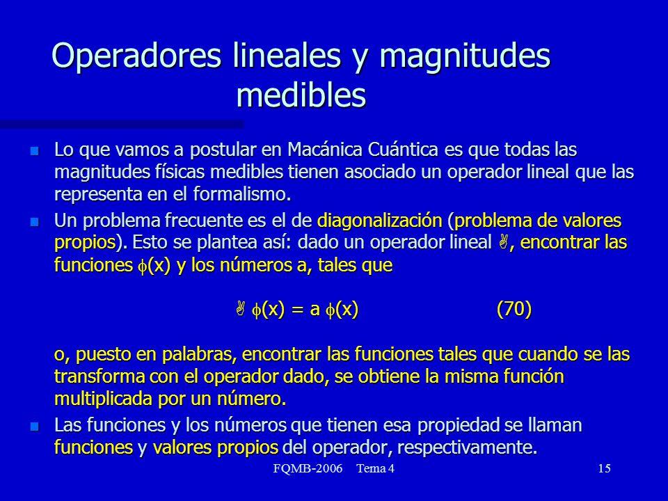 FQMB-2006 Tema 415 Operadores lineales y magnitudes medibles n Lo que vamos a postular en Macánica Cuántica es que todas las magnitudes físicas medibles tienen asociado un operador lineal que las representa en el formalismo.