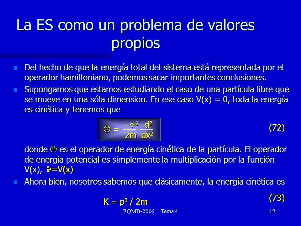 FQMB-2006 Tema 417 La ES como un problema de valores propios n Del hecho de que la energía total del sistema está representada por el operador hamilto
