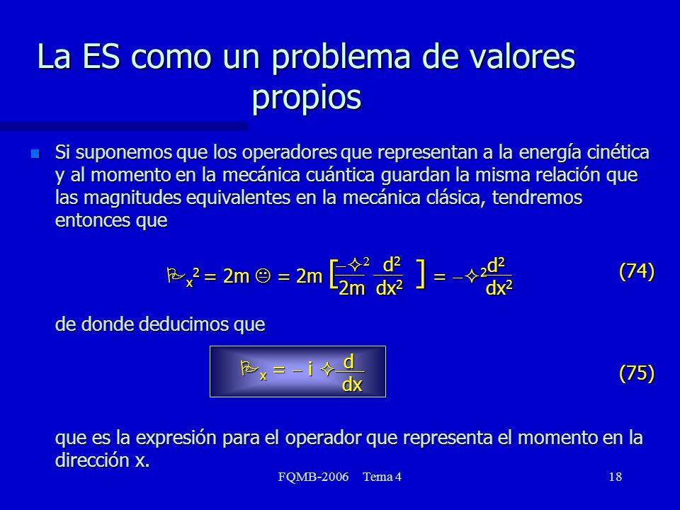 FQMB-2006 Tema 418 Si suponemos que los operadores que representan a la energía cinética y al momento en la mecánica cuántica guardan la misma relación que las magnitudes equivalentes en la mecánica clásica, tendremos entonces que P x 2 = 2m K = 2m [ ] = 2 de donde deducimos que P x = i que es la expresión para el operador que representa el momento en la dirección x.
