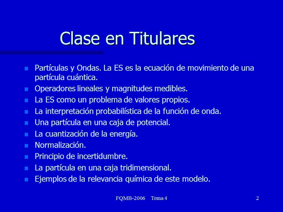 FQMB-2006 Tema 42 Clase en Titulares n n Partículas y Ondas. La ES es la ecuación de movimiento de una partícula cuántica. n n Operadores lineales y m