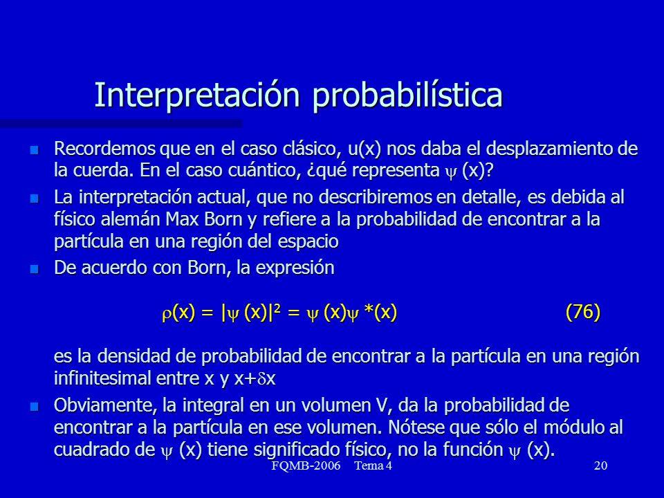 FQMB-2006 Tema 420 Recordemos que en el caso clásico, u(x) nos daba el desplazamiento de la cuerda. En el caso cuántico, ¿qué representa (x)? Recordem