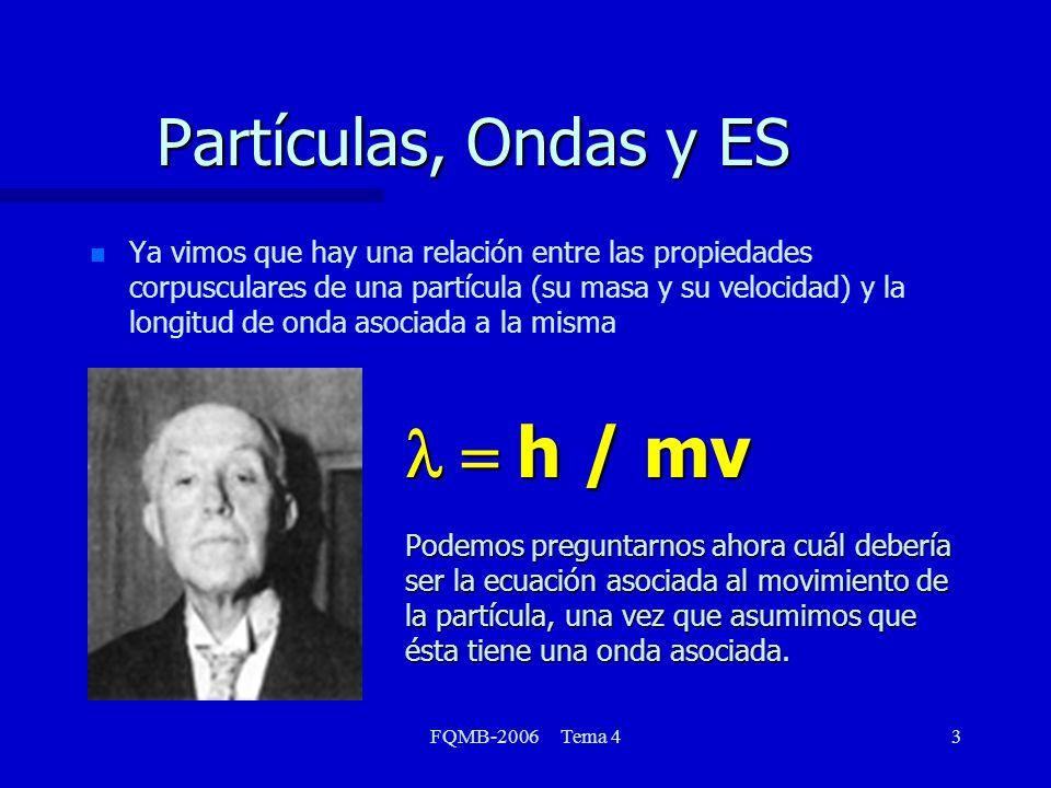 FQMB-2006 Tema 44 Partículas, Ondas y ES n n Empecemos considerando la ecuación de ondas monodimensional que ya consideramos en la clase anterior u(x,t) = (x) cos t Si bien ya conocemos la solución exacta, trabajemos ahora con una solución simplificada del estilo u(x,t) = (x) cos t 2 u(x,t) 2 u(x,t) x 2 x 2 2 u(x,t) 2 u(x,t) t 2 t 2 ______________ =1 v2v2v2v2 __ (53) (54)