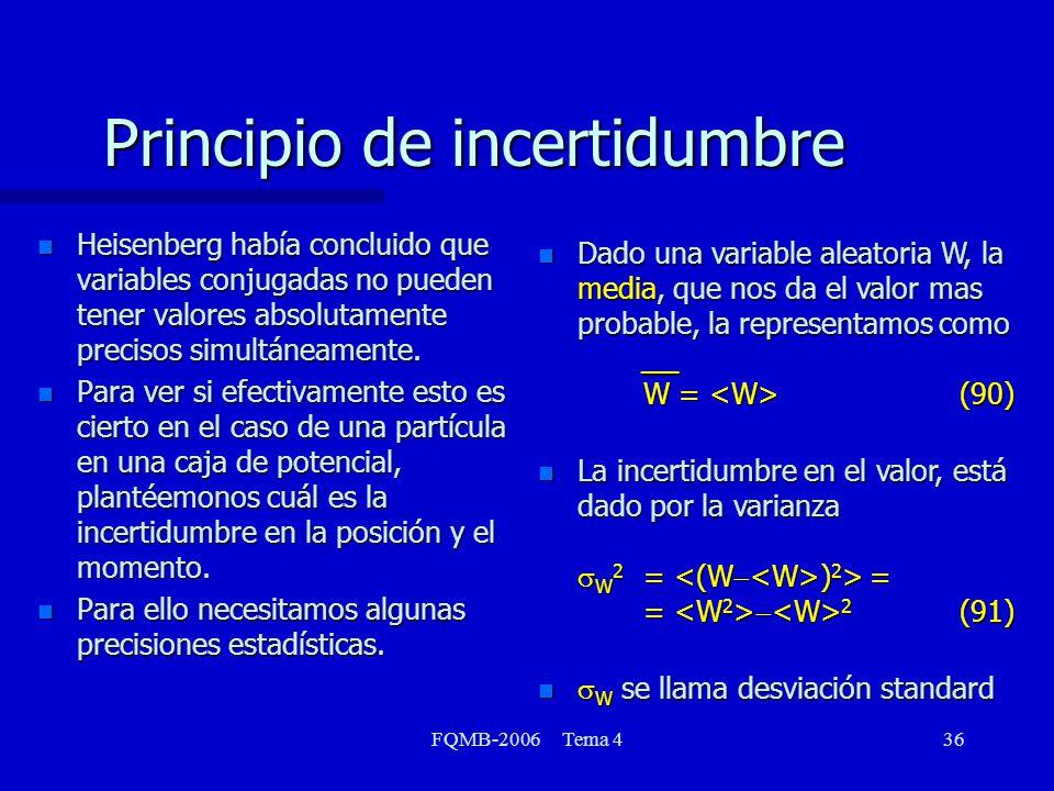 FQMB-2006 Tema 436 Principio de incertidumbre n Heisenberg había concluido que variables conjugadas no pueden tener valores absolutamente precisos sim