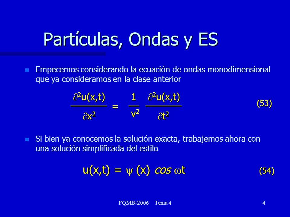 FQMB-2006 Tema 435 Principio de correspondencia n Volvamos ahora a la figura en la cual representamos las probabilidades normalizadas para los distintos estados de la partícula en la caja n Cuando n tiende a infinito, la probabilidad tiende a ser uniforme (caso clásico) n Principio de correspondencia: en el límite de grandes números cuánticos, la mecánica cuántica tiende a la mecánica clásica.