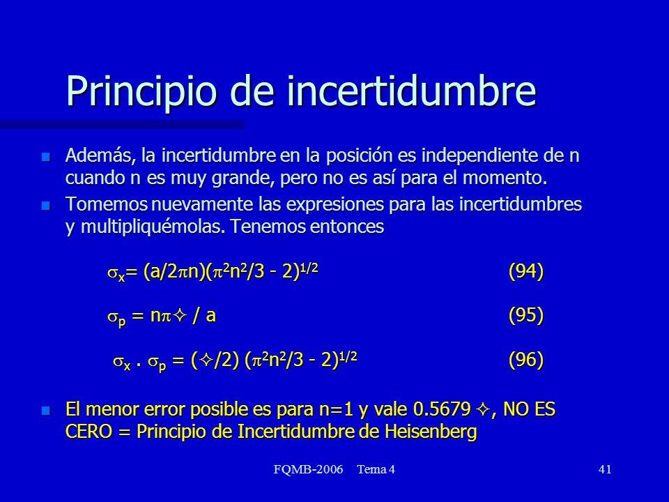 FQMB-2006 Tema 441 Principio de incertidumbre n Además, la incertidumbre en la posición es independiente de n cuando n es muy grande, pero no es así para el momento.