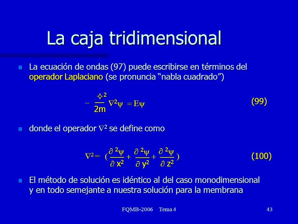 FQMB-2006 Tema 443 La caja tridimensional n La ecuación de ondas (97) puede escribirse en términos del operador Laplaciano (se pronuncia nabla cuadrado) n donde el operador 2 se define como n El método de solución es idéntico al del caso monodimensional y en todo semejante a nuestra solución para la membrana 2 __2m 2 2 (99) x 2 x 2 ___ 2 2 y 2 y 2 ___ 2 2 z 2 z 2 ___ 2 = 2 = (100)