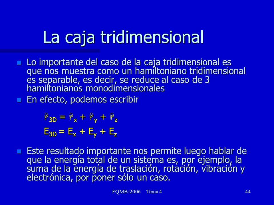 FQMB-2006 Tema 444 La caja tridimensional n Lo importante del caso de la caja tridimensional es que nos muestra como un hamiltoniano tridimensional es separable, es decir, se reduce al caso de 3 hamiltonianos monodimensionales En efecto, podemos escribir H 3D = H x + H y + H z E 3D = E x + E y + E z n Este resultado importante nos permite luego hablar de que la energía total de un sistema es, por ejemplo, la suma de la energía de traslación, rotación, vibración y electrónica, por poner sólo un caso.