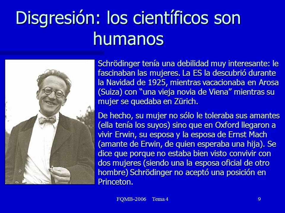 FQMB-2006 Tema 410 Disgresión: los científicos son humanos Schrödinger y Heiseinberg descubrieron formulaciones independientes de la Mecánica Cuántica.