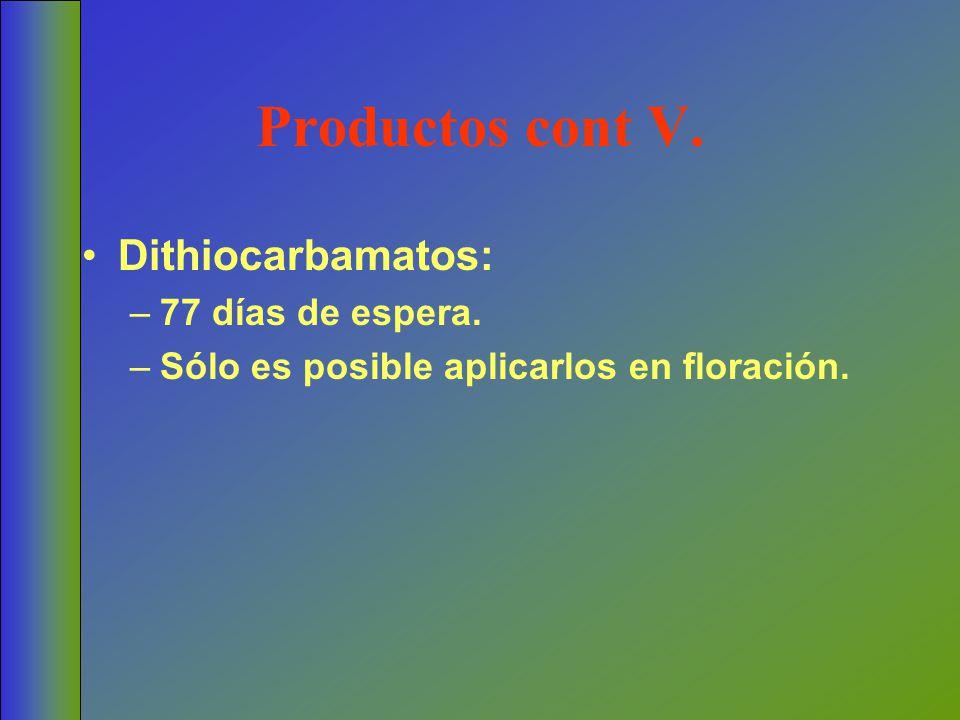 Productos cont V. Dithiocarbamatos: –77 días de espera. –Sólo es posible aplicarlos en floración.