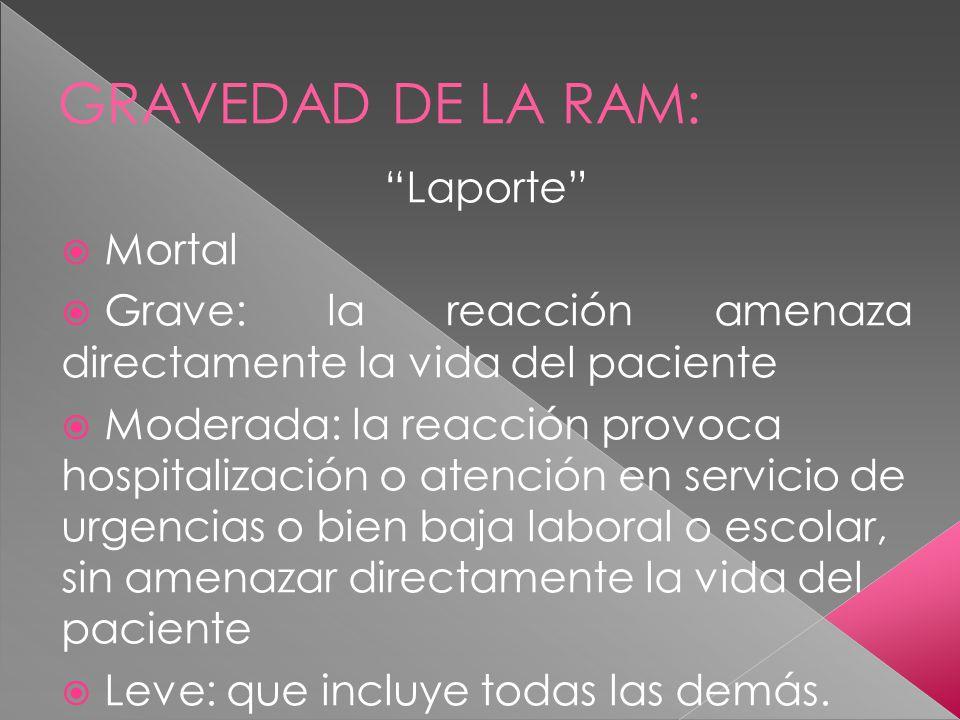 GRAVEDAD DE LA RAM: Laporte Mortal Grave: la reacción amenaza directamente la vida del paciente Moderada: la reacción provoca hospitalización o atenci
