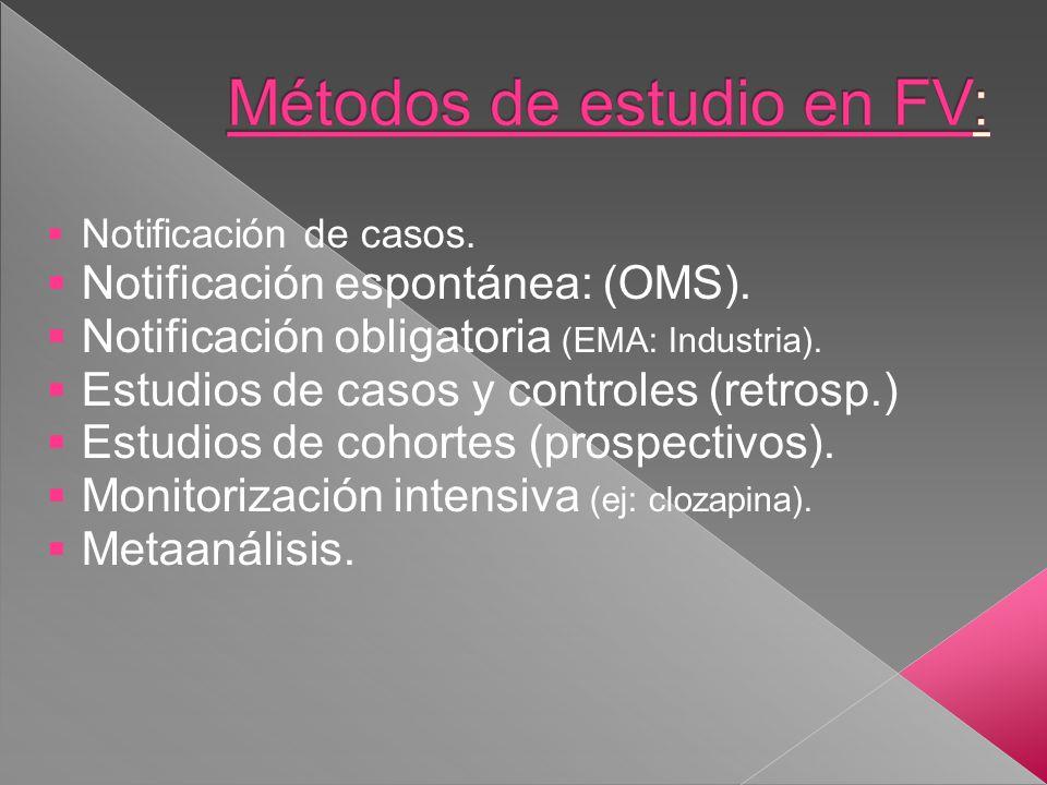 Notificación de casos. Notificación espontánea: (OMS). Notificación obligatoria (EMA: Industria). Estudios de casos y controles (retrosp.) Estudios de