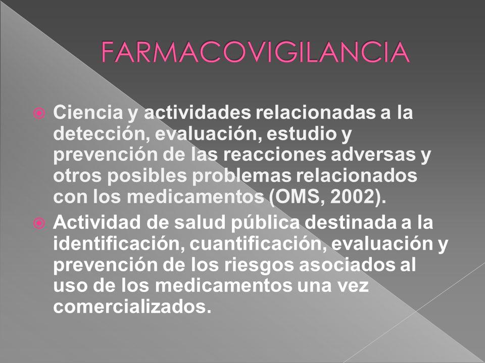 Ciencia y actividades relacionadas a la detección, evaluación, estudio y prevención de las reacciones adversas y otros posibles problemas relacionados con los medicamentos (OMS, 2002).