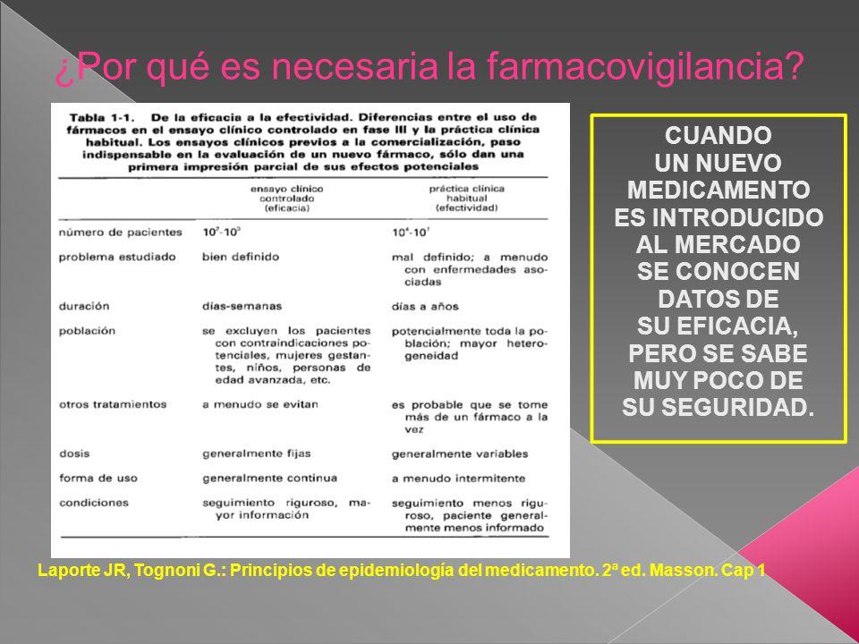 ¿Por qué es necesaria la farmacovigilancia? Laporte JR, Tognoni G.: Principios de epidemiología del medicamento. 2ª ed. Masson. Cap 1 CUANDO UN NUEVO