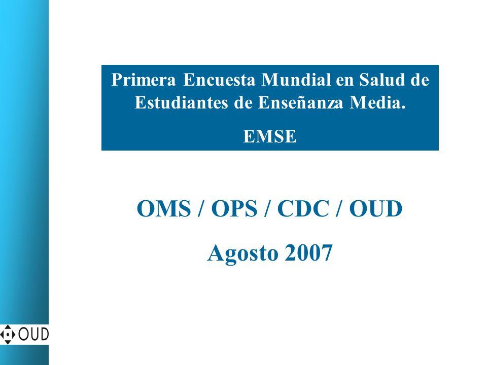 Primera Encuesta Mundial de Salud y Jóvenes (Proyecto OMS/OPS/CDC) Población escolarizada de 12 a 16 años de edad Población objetivo Avance de investigación