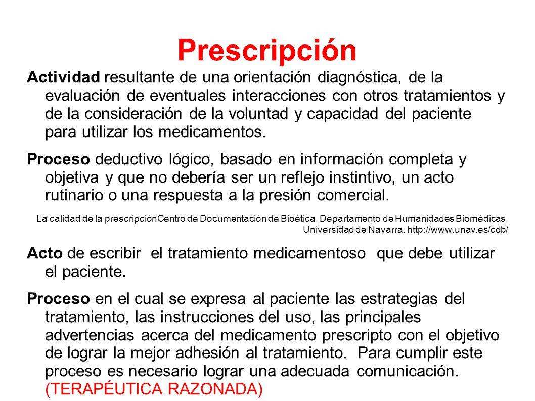 Prescripción Actividad resultante de una orientación diagnóstica, de la evaluación de eventuales interacciones con otros tratamientos y de la consideración de la voluntad y capacidad del paciente para utilizar los medicamentos.