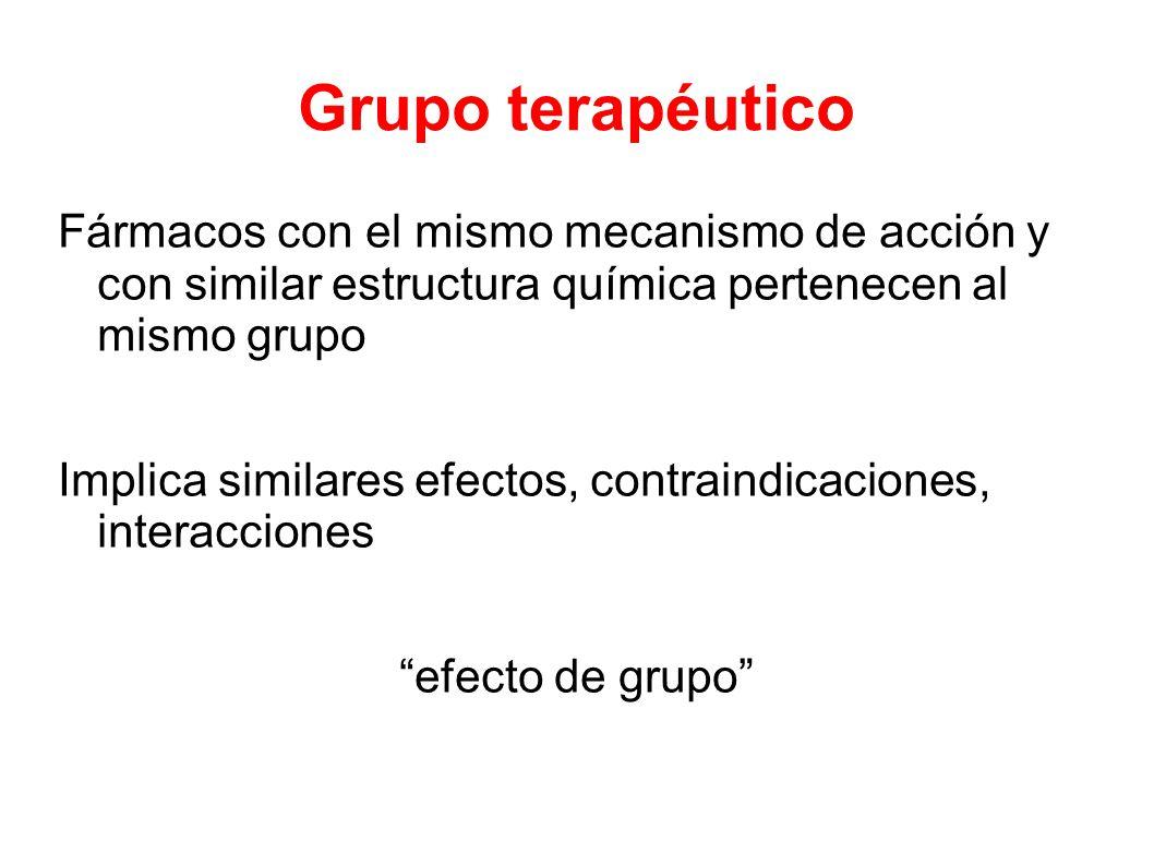 Grupo terapéutico Fármacos con el mismo mecanismo de acción y con similar estructura química pertenecen al mismo grupo Implica similares efectos, contraindicaciones, interacciones efecto de grupo