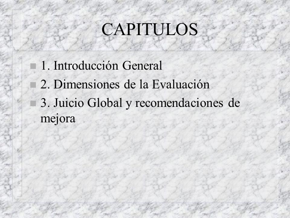 CAPITULOS n 1.Introducción General n 2. Dimensiones de la Evaluación n 3.