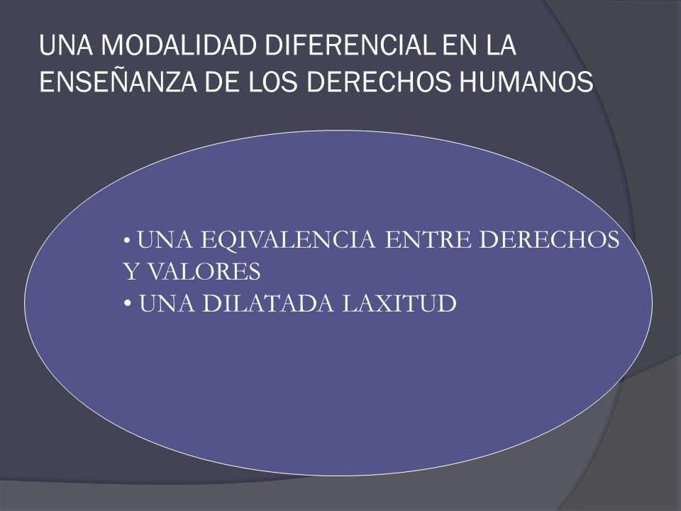 UNA MODALIDAD DIFERENCIAL EN LA ENSEÑANZA DE LOS DERECHOS HUMANOS UNA EQIVALENCIA ENTRE DERECHOS Y VALORES UNA DILATADA LAXITUD