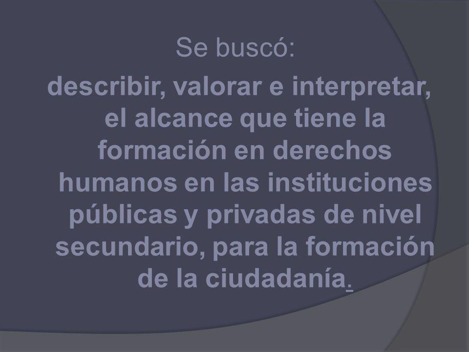 Se buscó: describir, valorar e interpretar, el alcance que tiene la formación en derechos humanos en las instituciones públicas y privadas de nivel secundario, para la formación de la ciudadanía.