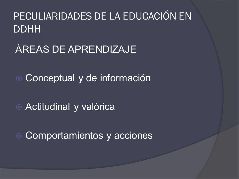 PECULIARIDADES DE LA EDUCACIÓN EN DDHH ÁREAS DE APRENDIZAJE Conceptual y de información Actitudinal y valórica Comportamientos y acciones